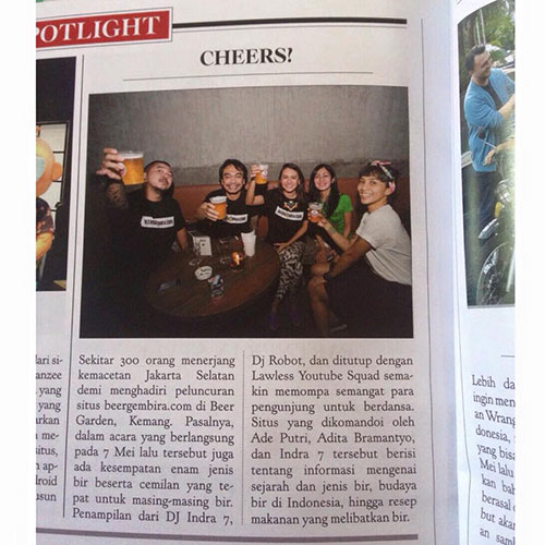 Look, mom, we are on the mag—religiously drinking beers!